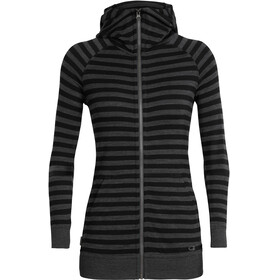 Icebreaker W's Crush LS Zip Hood jet heather/black/stripe